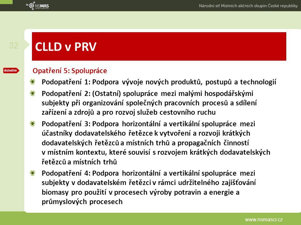 CLLD v PRV Opatření 5: Spolupráce Podopatření 1: Podpora vývoje nových produktů, postupů a technologií Podopatření 2: (Ostatní) spolupráce mezi malými hospodářskými subjekty při organizování společných pracovních procesů a sdílení zařízení a zdrojů a pro rozvoj služeb cestovního ruchu Podopatření 3: Podpora horizontální a vertikální spolupráce mezi účastníky dodavatelského řetězce k vytvoření a rozvoji krátkých dodavatelských řetězců a místních trhů a propagačních činností v místním kontextu, které souvisí s rozvojem krátkých dodavatelských řetězců a místních trhů Podopatření 4: Podpora horizontální a vertikální spolupráce mezi subjekty v dodavatelském řetězci v rámci udržitelného zajišťování biomasy pro použití v procesech výroby potravin a energie a průmyslových procesech www.nsmascr.cz 32