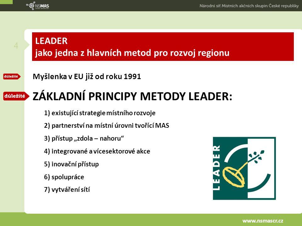 """LEADER jako jedna z hlavních metod pro rozvoj regionu Myšlenka v EU již od roku 1991 ZÁKLADNÍ PRINCIPY METODY LEADER: 1) existující strategie místního rozvoje 2) partnerství na místní úrovni tvořící MAS 3) přístup """"zdola – nahoru 4) integrované a vícesektorové akce 5) inovační přístup 6) spolupráce 7) vytváření sítí 4 www.nsmascr.cz"""
