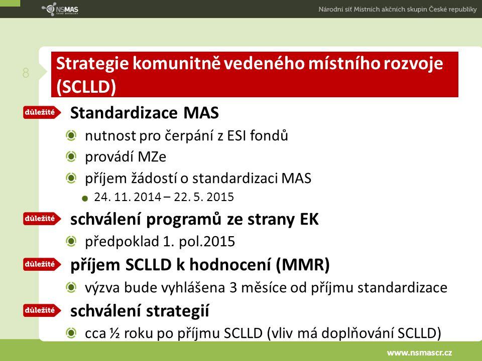 Strategie komunitně vedeného místního rozvoje (SCLLD) Standardizace MAS nutnost pro čerpání z ESI fondů provádí MZe příjem žádostí o standardizaci MAS