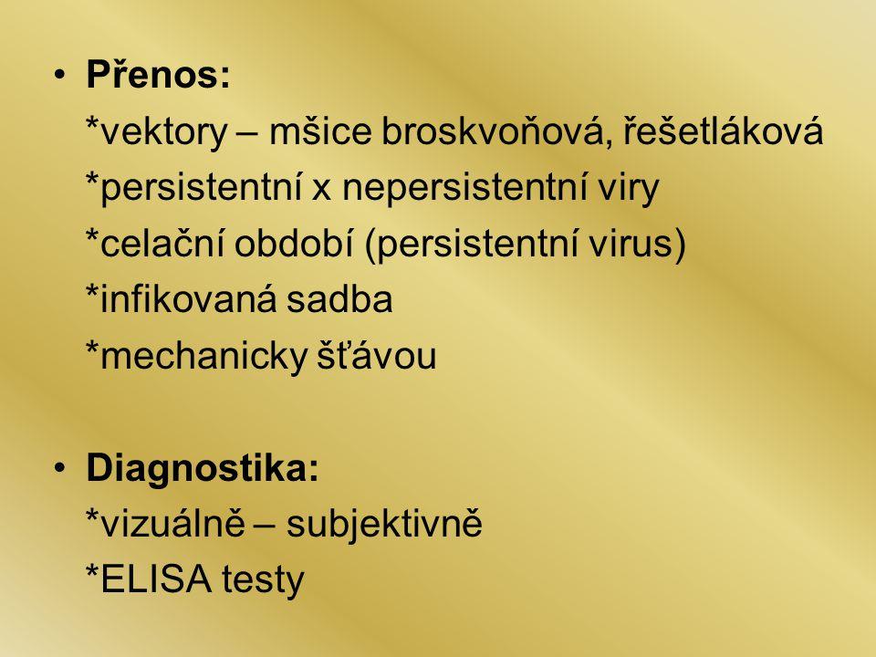 Přenos: *vektory – mšice broskvoňová, řešetláková *persistentní x nepersistentní viry *celační období (persistentní virus) *infikovaná sadba *mechanicky šťávou Diagnostika: *vizuálně – subjektivně *ELISA testy