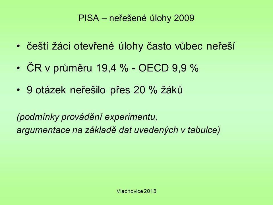Vlachovice 2013 PISA – neřešené úlohy 2009 čeští žáci otevřené úlohy často vůbec neřeší ČR v průměru 19,4 % - OECD 9,9 % 9 otázek neřešilo přes 20 % žáků (podmínky provádění experimentu, argumentace na základě dat uvedených v tabulce)