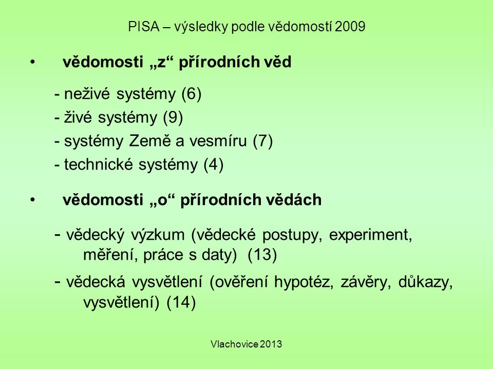 """Vlachovice 2013 PISA – výsledky podle vědomostí 2009 vědomosti """"z přírodních věd - neživé systémy (6) - živé systémy (9) - systémy Země a vesmíru (7) - technické systémy (4) vědomosti """"o přírodních vědách - vědecký výzkum (vědecké postupy, experiment, měření, práce s daty) (13) - vědecká vysvětlení (ověření hypotéz, závěry, důkazy, vysvětlení) (14)"""