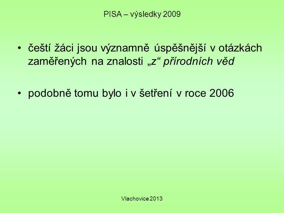 """Vlachovice 2013 PISA – výsledky 2009 čeští žáci jsou významně úspěšnější v otázkách zaměřených na znalosti """"z přírodních věd podobně tomu bylo i v šetření v roce 2006"""