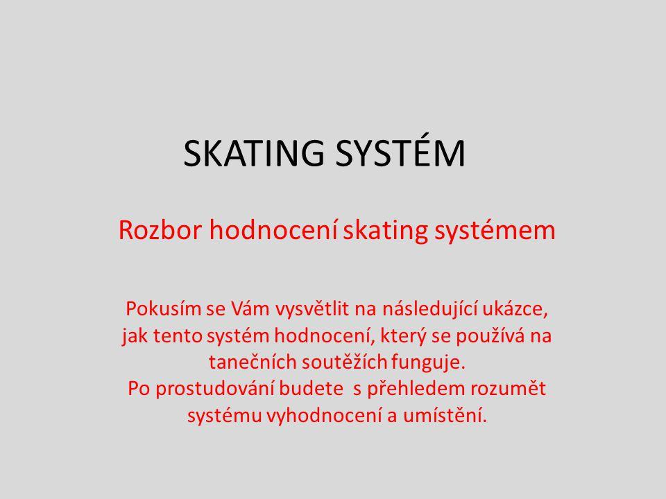SKATING SYSTÉM Rozbor hodnocení skating systémem Pokusím se Vám vysvětlit na následující ukázce, jak tento systém hodnocení, který se používá na taneč