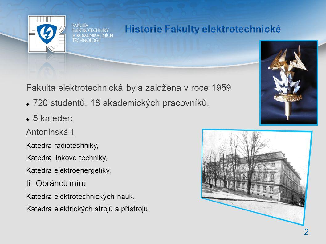 3 Fakulta (FEKT) je třetí největší v rámci Vysokého učení technického v Brně (VUT) 12 ústavů, 222 akademických pracovníků (přep.