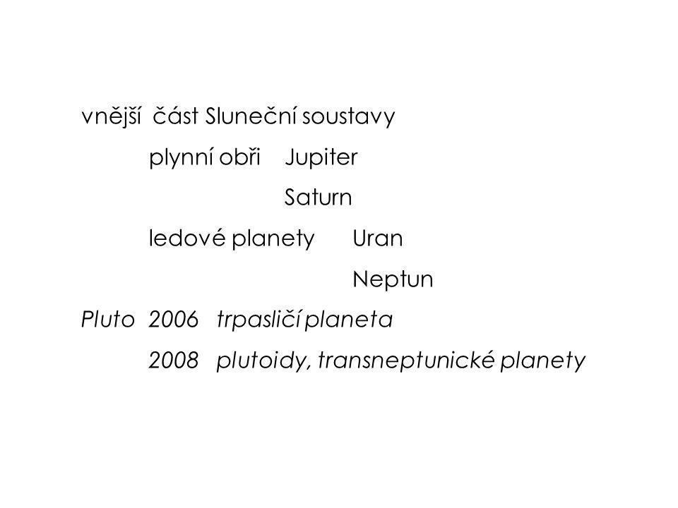 vnější část Sluneční soustavy plynní obřiJupiter Saturn ledové planetyUran Neptun Pluto2006trpasličí planeta 2008plutoidy, transneptunické planety