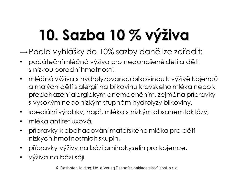 © Dashöfer Holding, Ltd. a Verlag Dashöfer, nakladatelství, spol. s r. o. 10. Sazba 10 % výživa →Podle vyhlášky do 10% sazby daně lze zařadit: počáteč