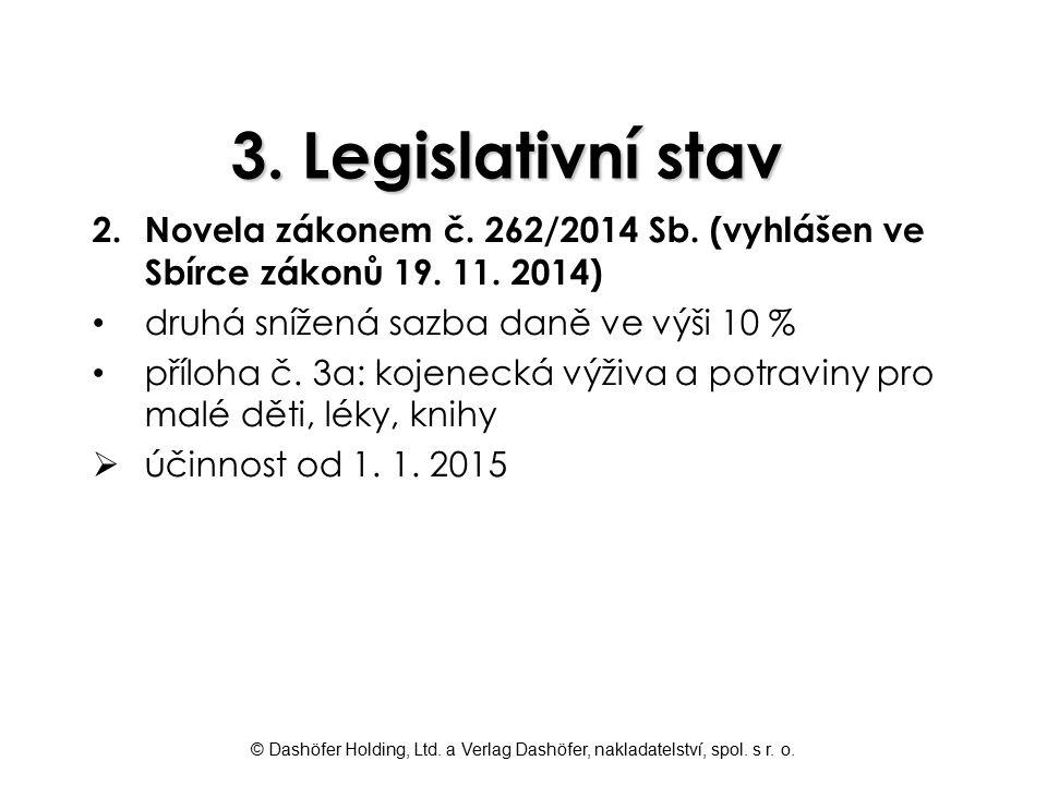 © Dashöfer Holding, Ltd. a Verlag Dashöfer, nakladatelství, spol. s r. o. 3. Legislativní stav 2.Novela zákonem č. 262/2014 Sb. (vyhlášen ve Sbírce zá