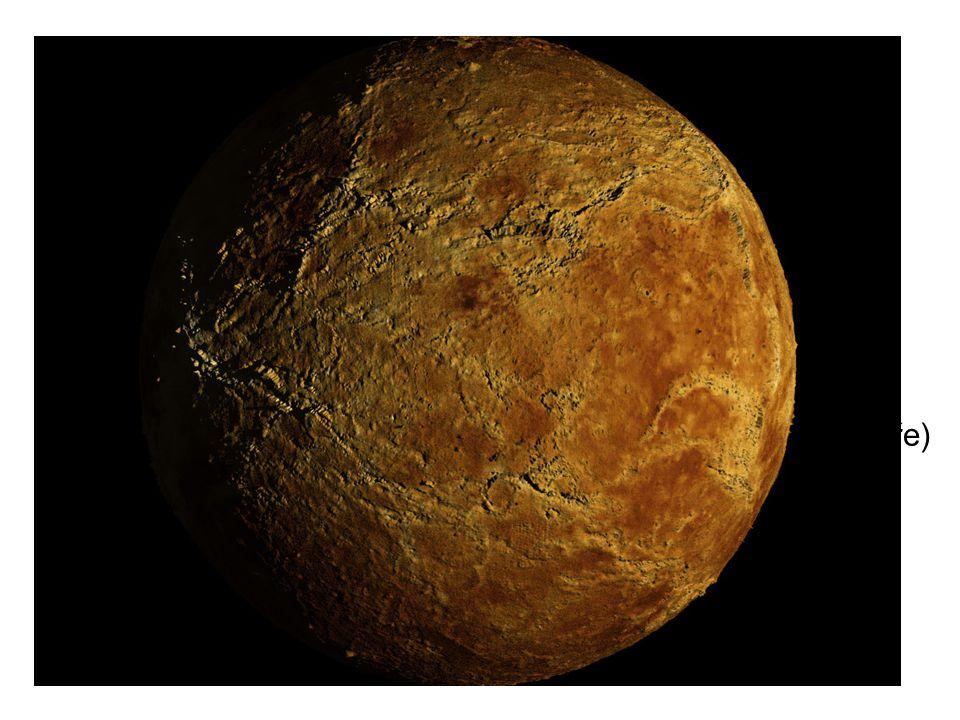Venuše -velikost a skladba velice podobná Zemi -obrovské krátery, sopky -zpětná extrémně pomalá rotace -1 den na Venuši = 243 dní -nemá magnetické pole -kyselina sírová, mnoho CO2, skleníkový efekt -drsné podmínky, hustá atmosféra, povrch se nemění -tlak je 90x větší (asi jako na Zemi 1 km pod hladinou moře) -max 480  C -dobře odráží sluneční světlo – Večernice (Jitřenka)