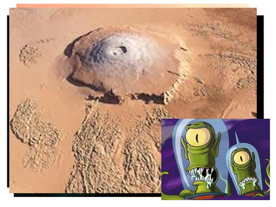 """Mars -velmi řídká atmosféra (95% CO2) -nemá magnetické pole -již zde není voda v tekutém stavu (  není desková tektonika) -polární čepičky -lze pozorovat ze Země -""""rudá planeta - zoxidovaná půda na povrchu (oxid železitý) -pevný různorodý povrch - pláně zalité lávou, krátery, sopky, kaňony, nejvyšší hora sopka Olympus Mons (24km) -2 měsíce nepravidelného tvaru - Phobos a Deimos"""