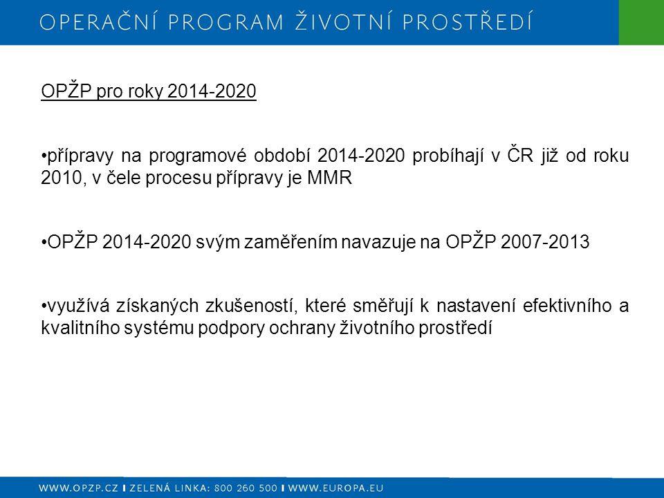 OPŽP pro roky 2014-2020 přípravy na programové období 2014-2020 probíhají v ČR již od roku 2010, v čele procesu přípravy je MMR OPŽP 2014-2020 svým zaměřením navazuje na OPŽP 2007-2013 využívá získaných zkušeností, které směřují k nastavení efektivního a kvalitního systému podpory ochrany životního prostředí