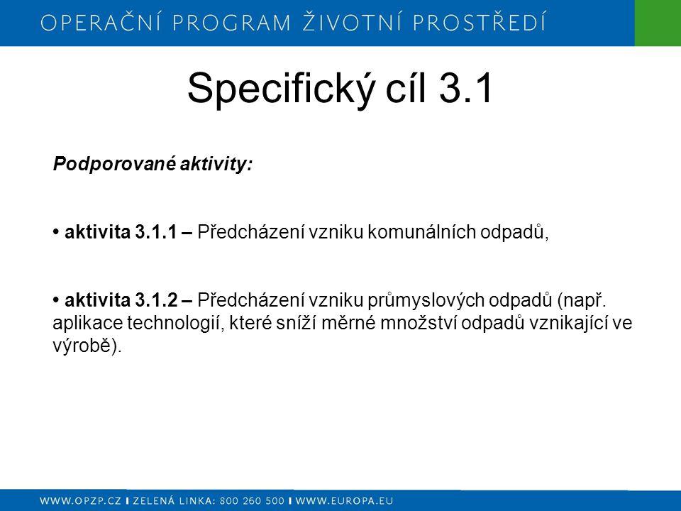 Specifický cíl 3.1 Podporované aktivity: aktivita 3.1.1 – Předcházení vzniku komunálních odpadů, aktivita 3.1.2 – Předcházení vzniku průmyslových odpadů (např.