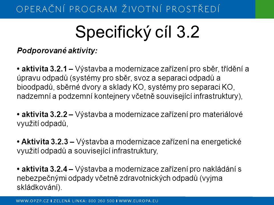 Specifický cíl 3.3 Podporované aktivity: aktivita 3.3.1 – Rekultivace starých skládek (technicky nedostatečně zabezpečených).