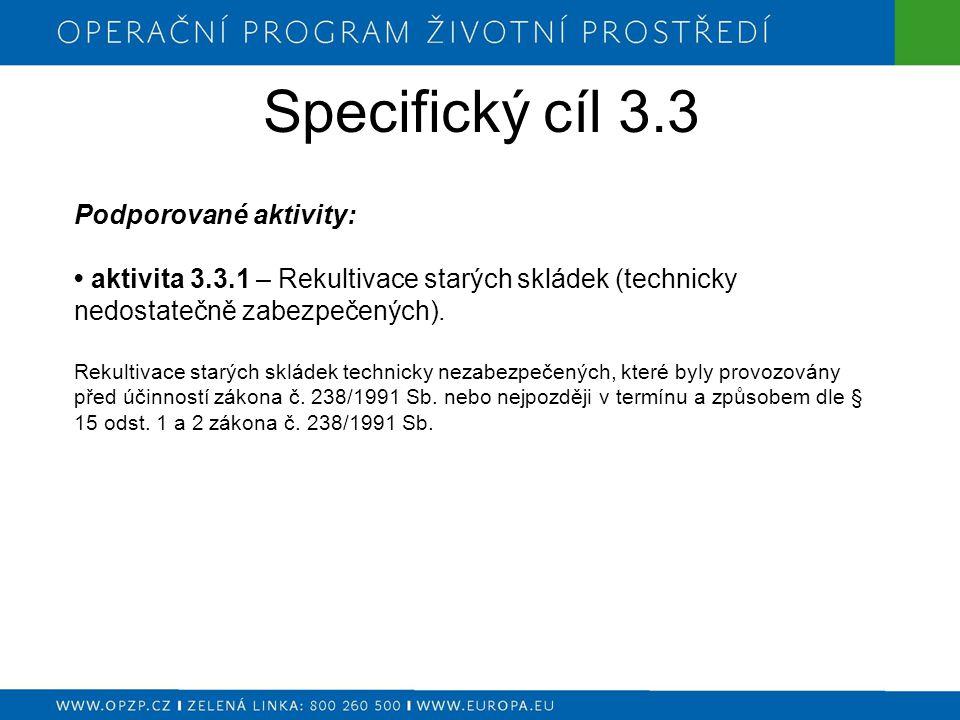 Specifický cíl 3.4 Podporované aktivity: aktivita 3.4.1.