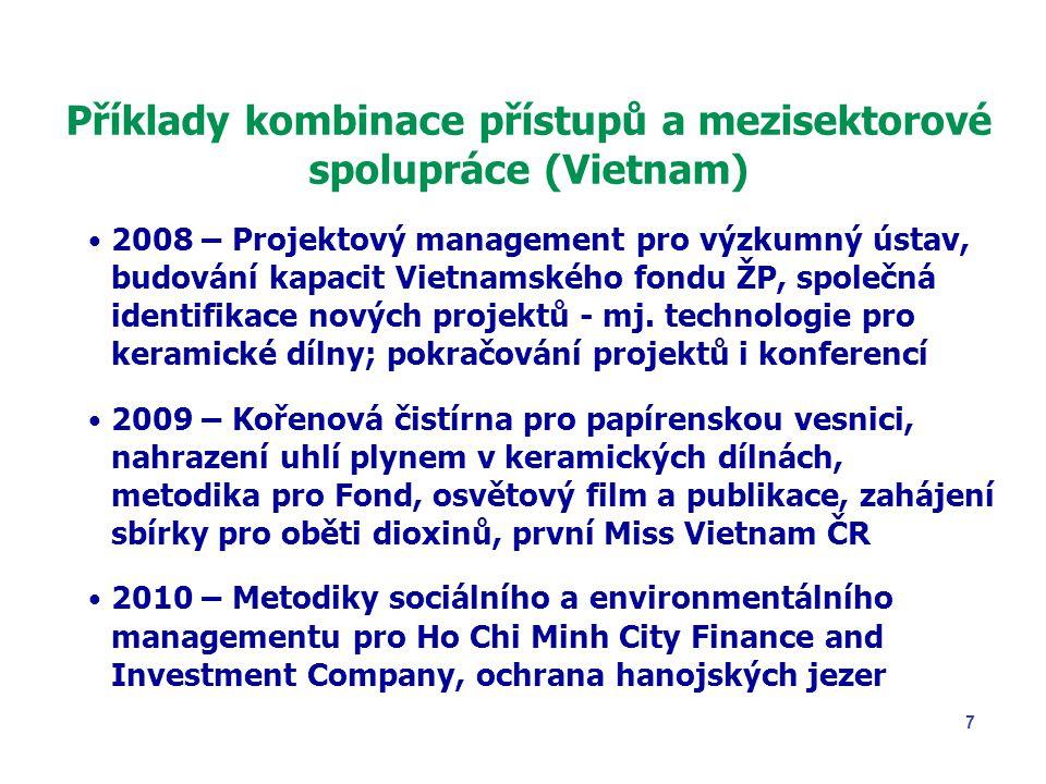 8 Příklady kombinace přístupů a mezisektorové spolupráce (Vietnam) 2011 – Obnovitelné zdroje energie v Hue, Škola managementu v HCMC, odpadové hospodářství 2012 – Monitorovací systémy kontaminace na vojenských letištích, podpis nové dohody MŽP-MONRE 2013 – Výzkumný projekt dekontaminace venkovských oblastí, energetické zpracování zemědělských odpadů 2014 – Zapojení do U.S.-Vietnam Dialogue Group on Agent Orange/Dioxin, ukončení rozvojových projektů 2015 – Rok vietnamské kultury v ČR, návštěva vietnamského prezidenta v ČR