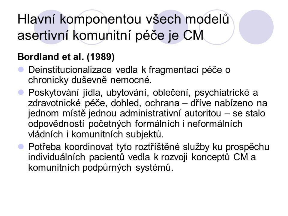 Hlavní komponentou všech modelů asertivní komunitní péče je CM Bordland et al. (1989) Deinstitucionalizace vedla k fragmentaci péče o chronicky duševn