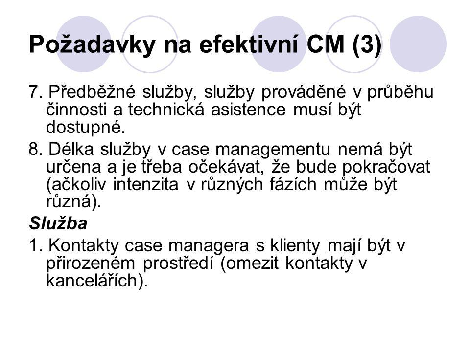 Požadavky na efektivní CM (3) 7. Předběžné služby, služby prováděné v průběhu činnosti a technická asistence musí být dostupné. 8. Délka služby v case