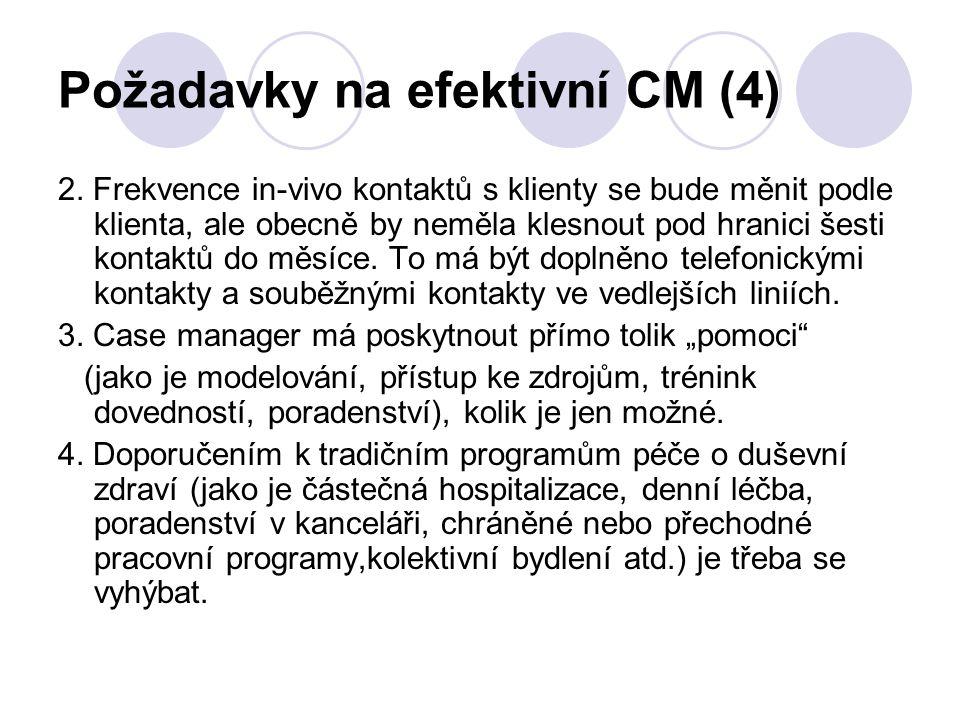 Požadavky na efektivní CM (4) 2. Frekvence in-vivo kontaktů s klienty se bude měnit podle klienta, ale obecně by neměla klesnout pod hranici šesti kon