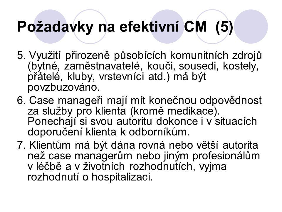 Požadavky na efektivní CM (5) 5. Využití přirozeně působících komunitních zdrojů (bytné, zaměstnavatelé, kouči, sousedi, kostely, přátelé, kluby, vrst
