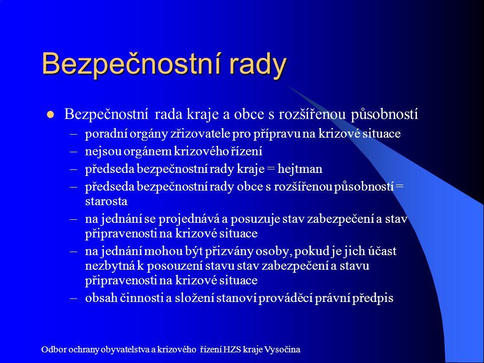 Odbor ochrany obyvatelstva a krizového řízení HZS kraje Vysočina Bezpečnostní rady Bezpečnostní rada kraje a obce s rozšířenou působností –poradní org