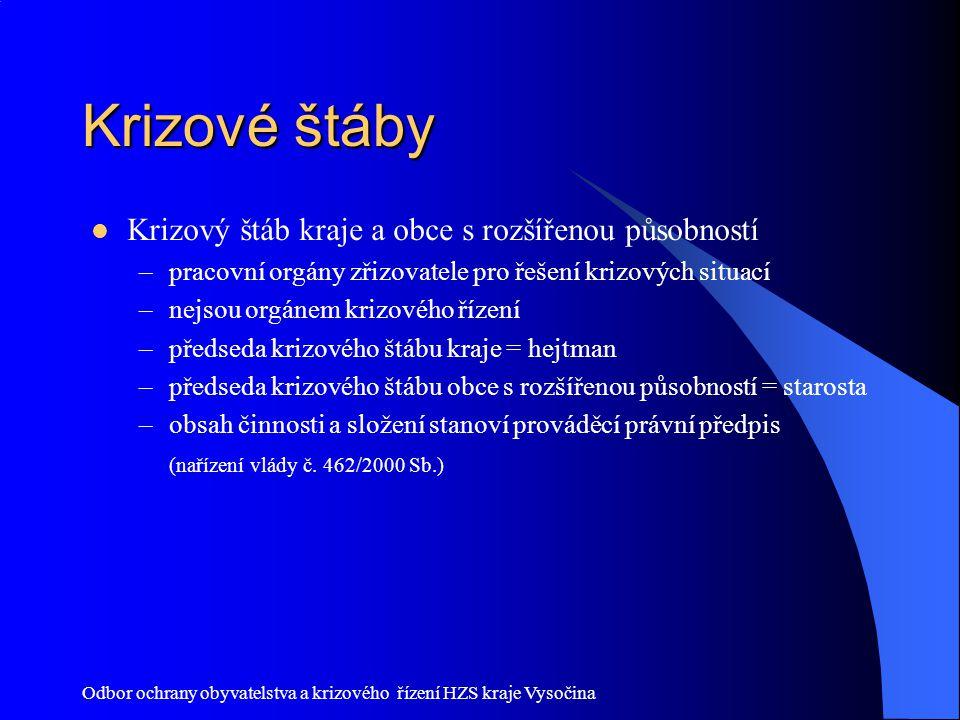 Odbor ochrany obyvatelstva a krizového řízení HZS kraje Vysočina Krizové štáby Krizový štáb kraje a obce s rozšířenou působností –pracovní orgány zřiz
