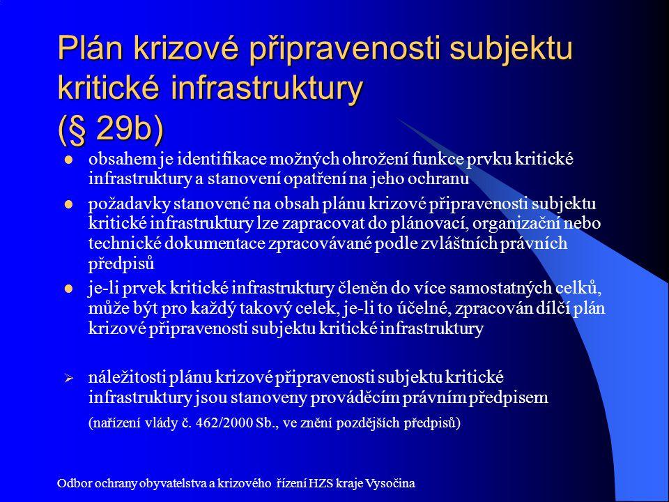 Odbor ochrany obyvatelstva a krizového řízení HZS kraje Vysočina Plán krizové připravenosti subjektu kritické infrastruktury (§ 29b) obsahem je identi