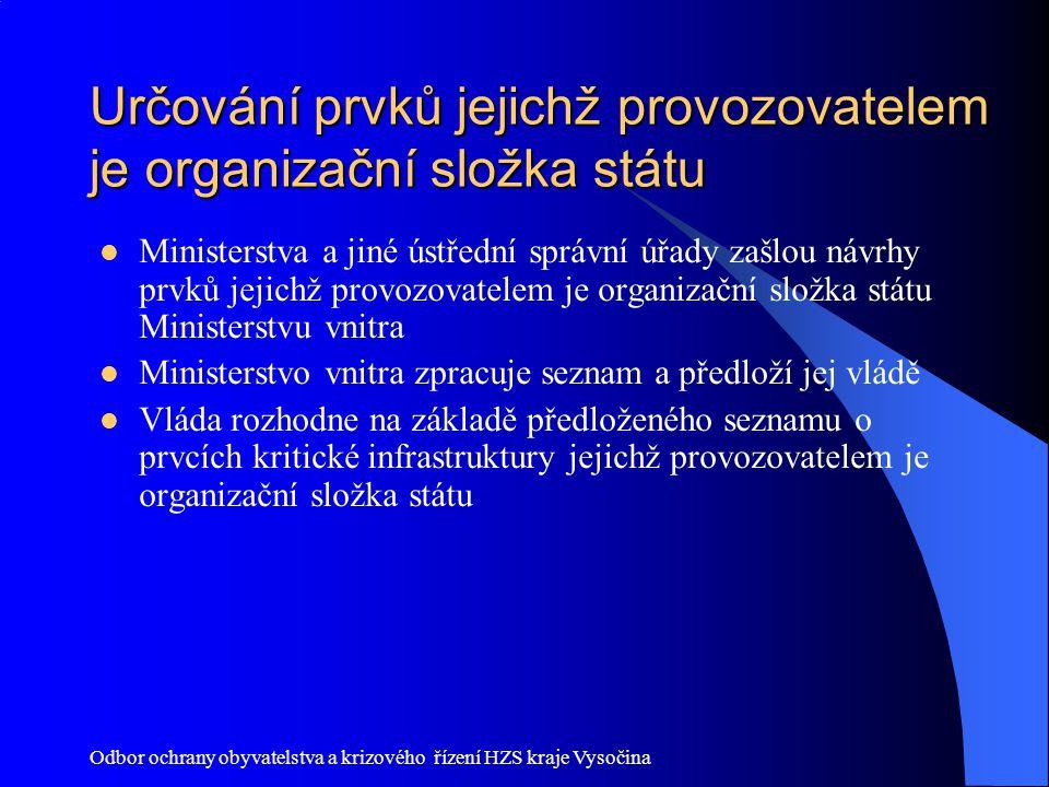 Odbor ochrany obyvatelstva a krizového řízení HZS kraje Vysočina Určování prvků jejichž provozovatelem je organizační složka státu Ministerstva a jiné