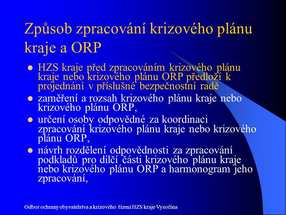 Odbor ochrany obyvatelstva a krizového řízení HZS kraje Vysočina Způsob zpracování krizového plánu kraje a ORP HZS kraje před zpracováním krizového pl