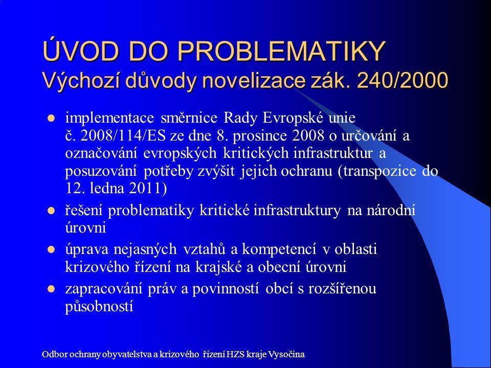 Odbor ochrany obyvatelstva a krizového řízení HZS kraje Vysočina ÚVOD DO PROBLEMATIKY Výchozí důvody novelizace zák. 240/2000 implementace směrnice Ra