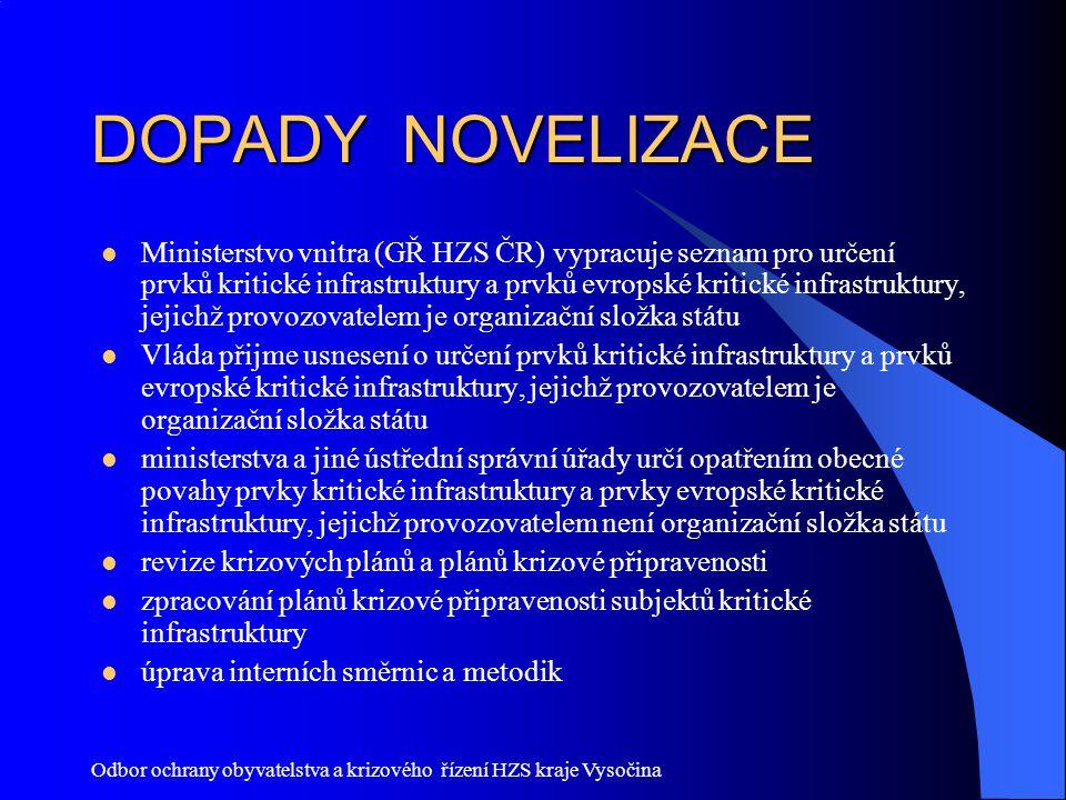 Odbor ochrany obyvatelstva a krizového řízení HZS kraje Vysočina DOPADY NOVELIZACE Ministerstvo vnitra (GŘ HZS ČR) vypracuje seznam pro určení prvků k
