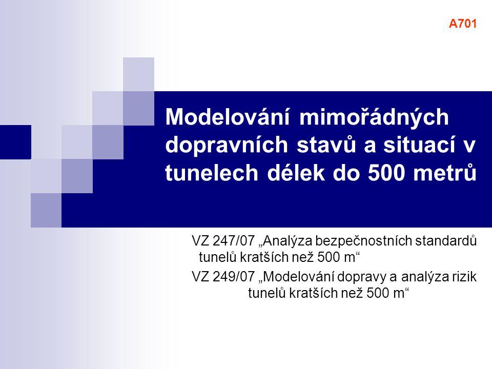 9 Analýza bezpečnostních standardů tunelů kratších než 500 m Analyzované národní předpisy  Technické podmínky 98  Česká technická norma ČSN 73 7507  Česká technická norma ČSN 73 6201  Zahraniční standardy  Slovenská požární směrnice  Americká norma NFPA 502  Francouzský oběžník  Rakouská norma RVS 9.282  Rakouská norma RVS 9.261  Švýcarská směrnice pro ventilaci  Německá směrnice RABT Mezinárodní předpisy  PIARC...