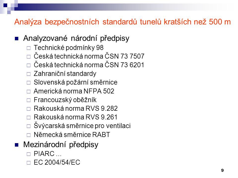 9 Analýza bezpečnostních standardů tunelů kratších než 500 m Analyzované národní předpisy  Technické podmínky 98  Česká technická norma ČSN 73 7507