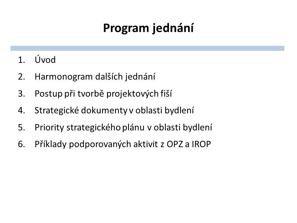 Program jednání 1.Úvod 2.Harmonogram dalších jednání 3.Postup při tvorbě projektových fiší 4.Strategické dokumenty v oblasti bydlení 5.Priority strategického plánu v oblasti bydlení 6.Příklady podporovaných aktivit z OPZ a IROP
