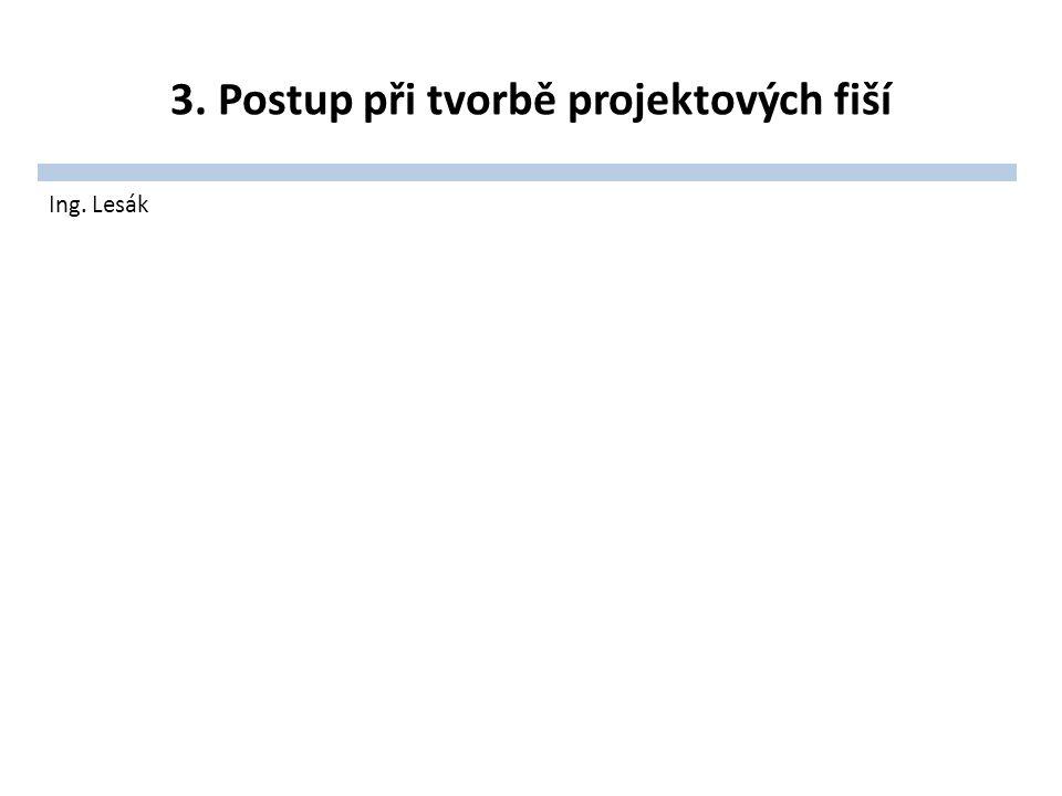 3. Postup při tvorbě projektových fiší Ing. Lesák