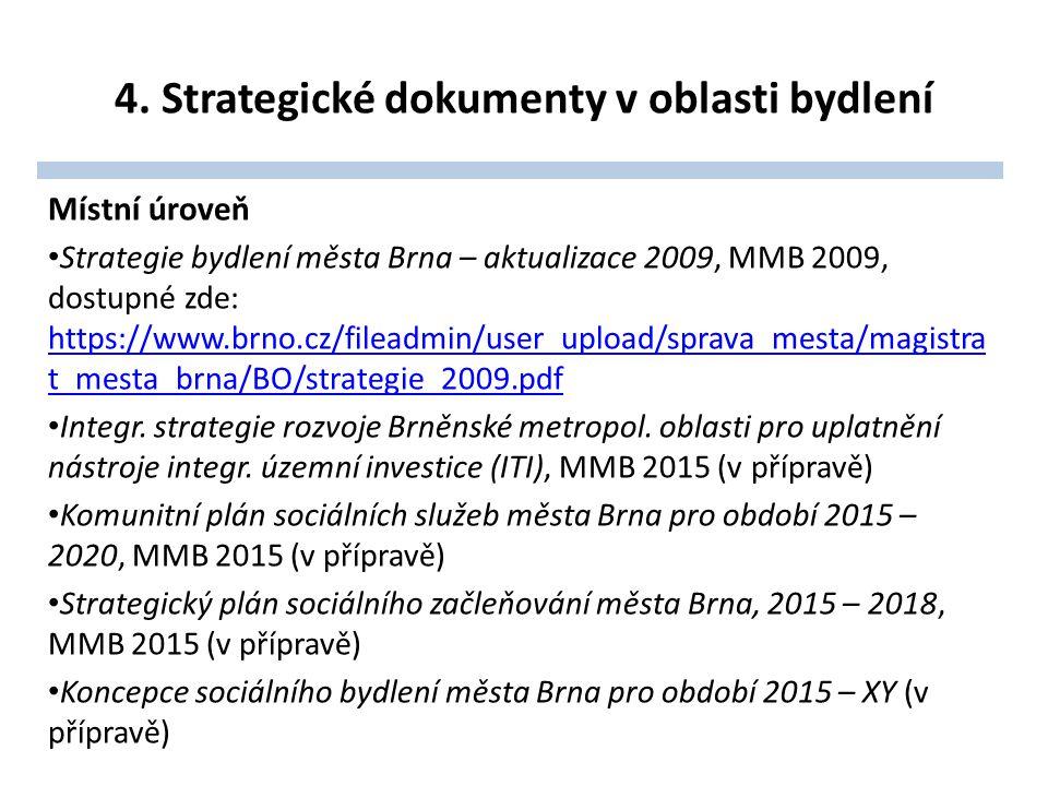 4. Strategické dokumenty v oblasti bydlení Místní úroveň Strategie bydlení města Brna – aktualizace 2009, MMB 2009, dostupné zde: https://www.brno.cz/