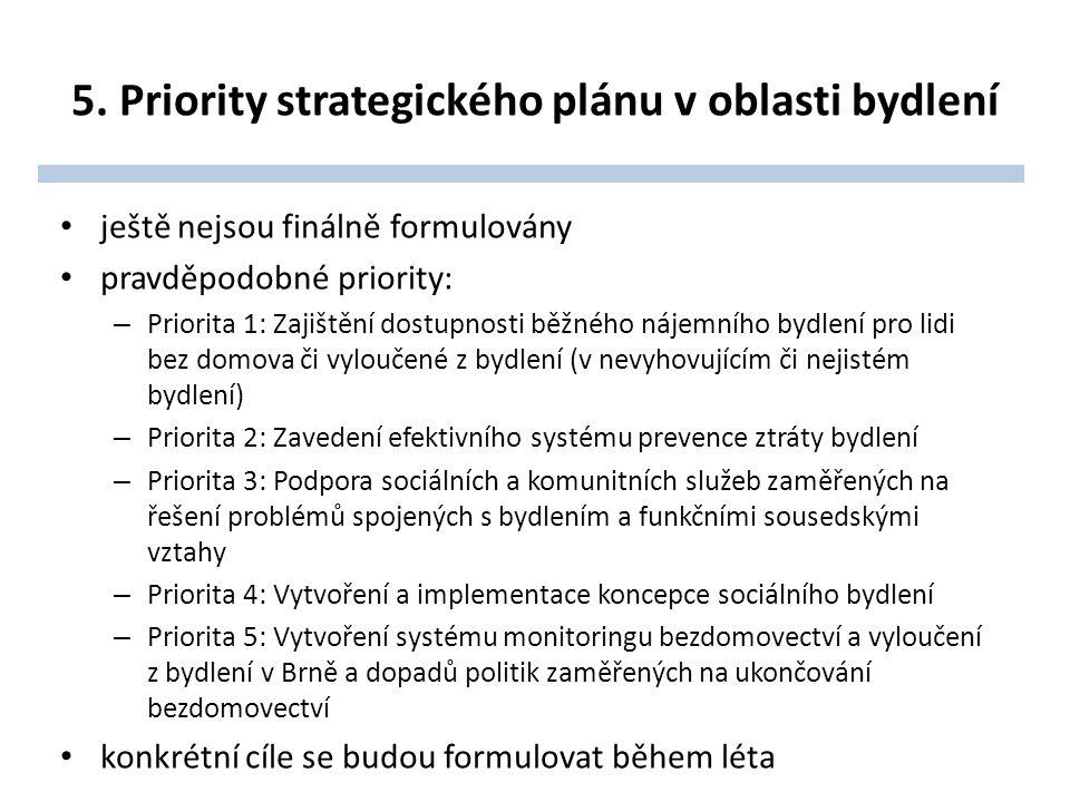 5. Priority strategického plánu v oblasti bydlení ještě nejsou finálně formulovány pravděpodobné priority: – Priorita 1: Zajištění dostupnosti běžného