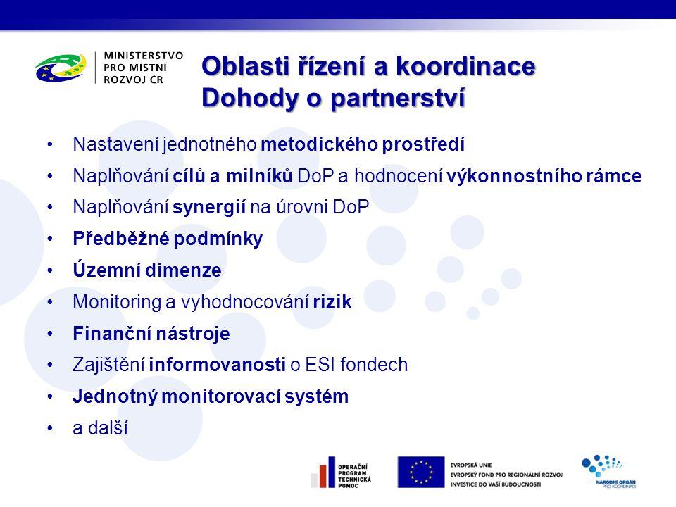 Nastavení jednotného metodického prostředí Naplňování cílů a milníků DoP a hodnocení výkonnostního rámce Naplňování synergií na úrovni DoP Předběžné podmínky Územní dimenze Monitoring a vyhodnocování rizik Finanční nástroje Zajištění informovanosti o ESI fondech Jednotný monitorovací systém a další Oblasti řízení a koordinace Dohody o partnerství