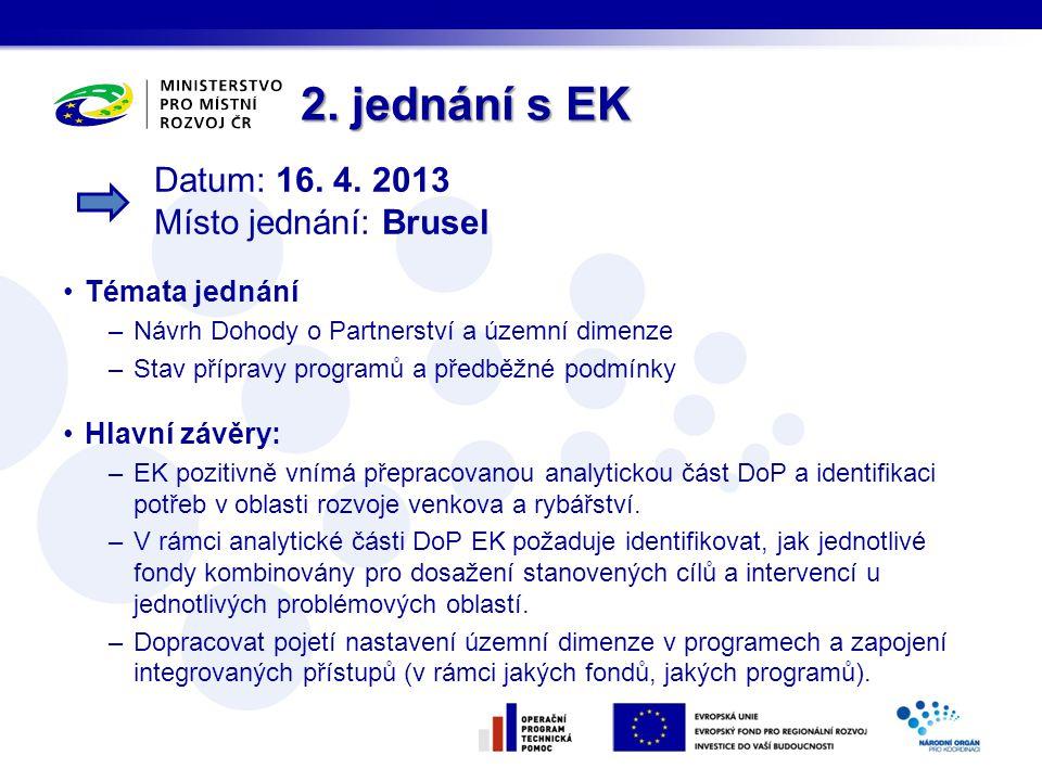 2. jednání s EK Témata jednání –Návrh Dohody o Partnerství a územní dimenze –Stav přípravy programů a předběžné podmínky Hlavní závěry: –EK pozitivně