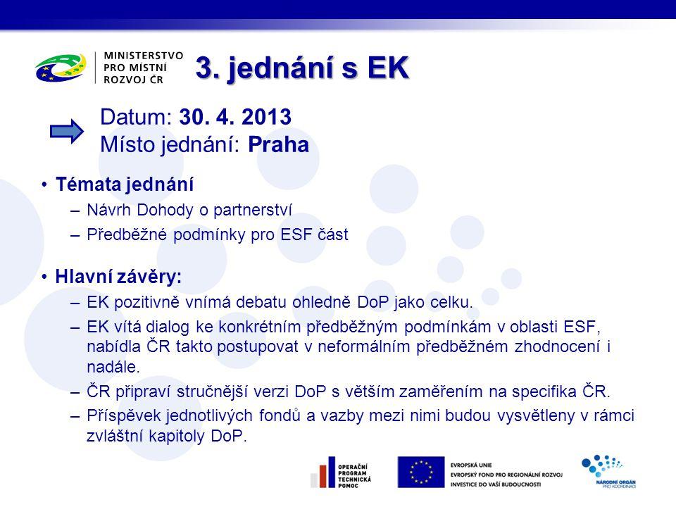 3. jednání s EK Témata jednání –Návrh Dohody o partnerství –Předběžné podmínky pro ESF část Hlavní závěry: –EK pozitivně vnímá debatu ohledně DoP jako