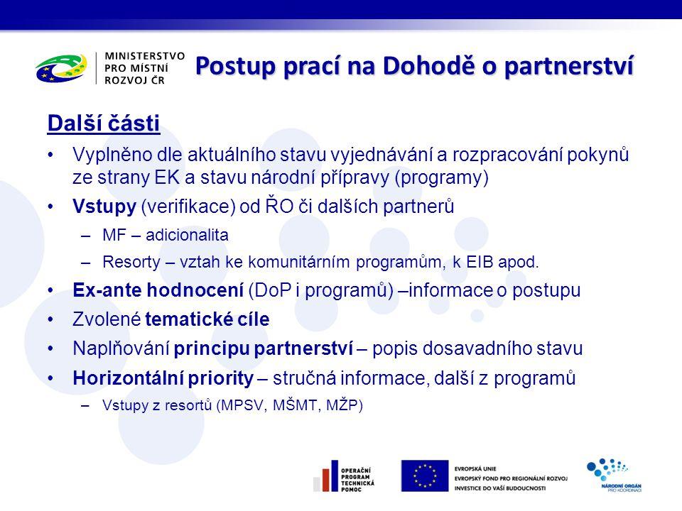 Další části Vyplněno dle aktuálního stavu vyjednávání a rozpracování pokynů ze strany EK a stavu národní přípravy (programy) Vstupy (verifikace) od ŘO či dalších partnerů –MF – adicionalita –Resorty – vztah ke komunitárním programům, k EIB apod.