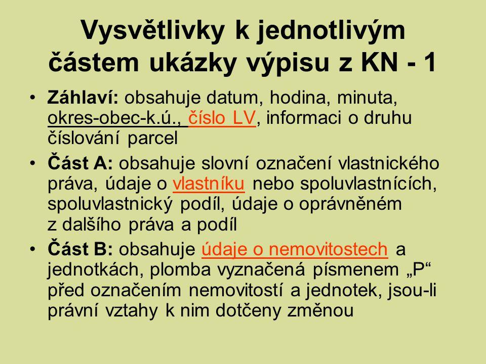 Vysvětlivky k jednotlivým částem ukázky výpisu z KN - 1 Záhlaví: obsahuje datum, hodina, minuta, okres-obec-k.ú., číslo LV, informaci o druhu číslován