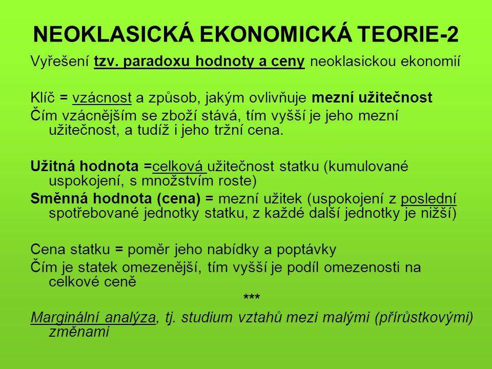 NEOKLASICKÁ EKONOMICKÁ TEORIE-2 Vyřešení tzv. paradoxu hodnoty a ceny neoklasickou ekonomií Klíč = vzácnost a způsob, jakým ovlivňuje mezní užitečnost