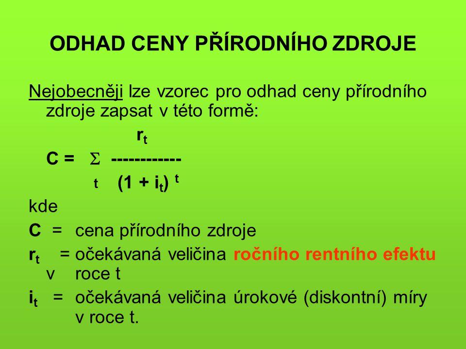 ODHAD CENY PŘÍRODNÍHO ZDROJE Nejobecněji lze vzorec pro odhad ceny přírodního zdroje zapsat v této formě: r t C =  ------------ t (1 + i t ) t kde C