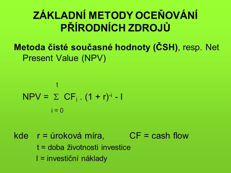 ZÁKLADNÍ METODY OCEŇOVÁNÍ PŘÍRODNÍCH ZDROJŮ Metoda čisté současné hodnoty (ČSH), resp. Net Present Value (NPV) t NPV =  CF i. (1 + r) -i - I i = 0 kd