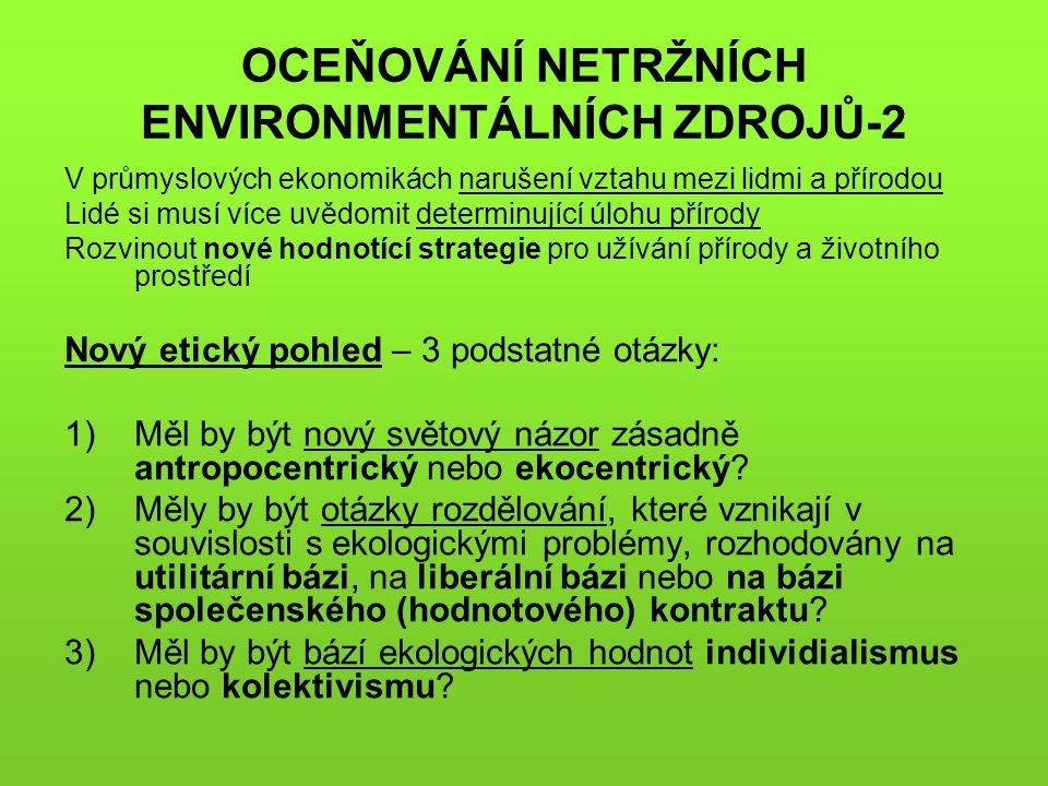 OCEŇOVÁNÍ NETRŽNÍCH ENVIRONMENTÁLNÍCH ZDROJŮ-2 V průmyslových ekonomikách narušení vztahu mezi lidmi a přírodou Lidé si musí více uvědomit determinují