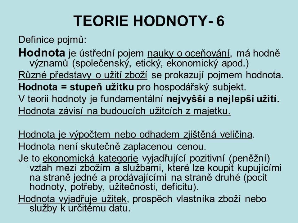 TEORIE HODNOTY- 6 Definice pojmů: Hodnota je ústřední pojem nauky o oceňování, má hodně významů (společenský, etický, ekonomický apod.) Různé představ
