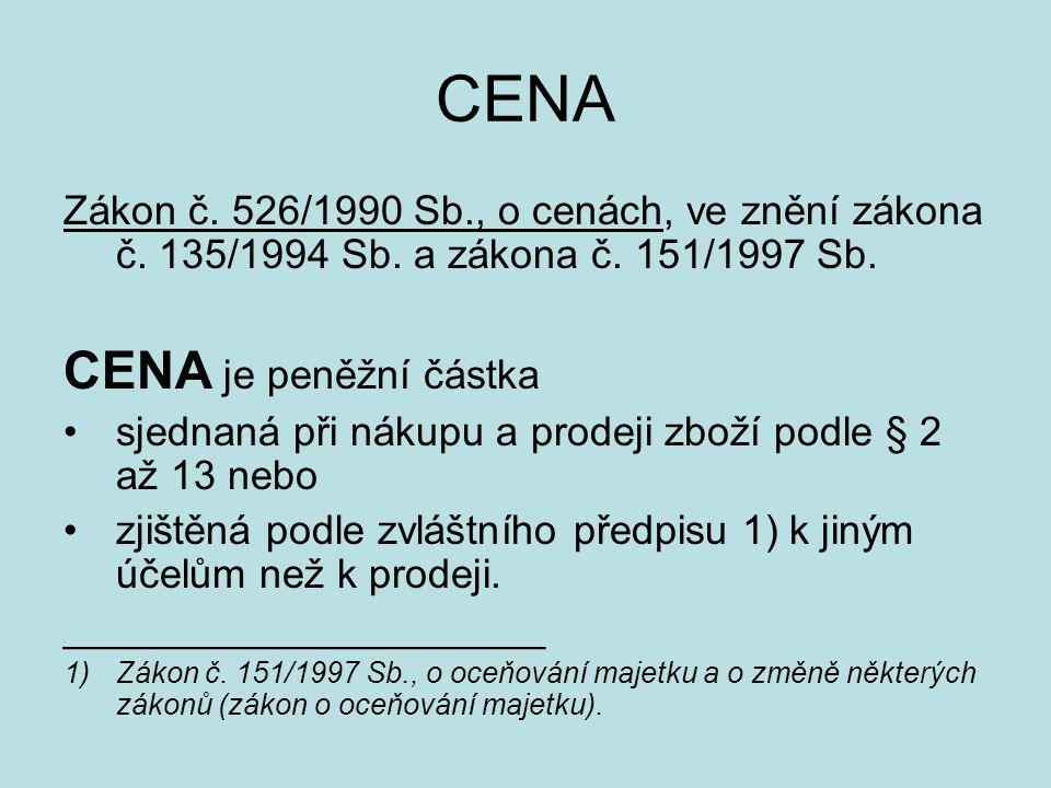 CENA Zákon č. 526/1990 Sb., o cenách, ve znění zákona č. 135/1994 Sb. a zákona č. 151/1997 Sb. CENA je peněžní částka sjednaná při nákupu a prodeji zb