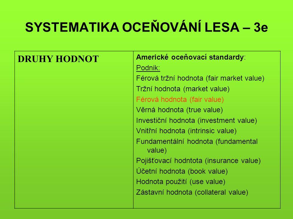 SYSTEMATIKA OCEŇOVÁNÍ LESA – 3e DRUHY HODNOT Americké oceňovací standardy: Podnik: Férová tržní hodnota (fair market value) Tržní hodnota (market valu