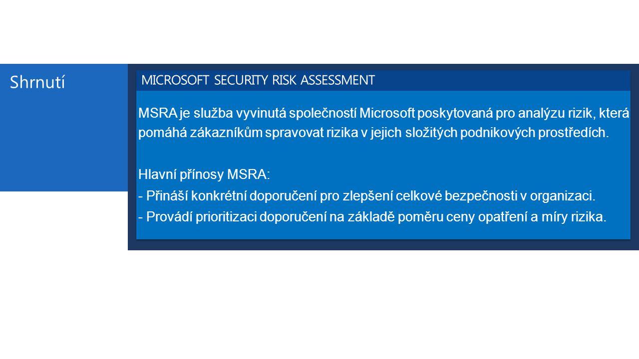 Shrnutí MSRA je služba vyvinutá společností Microsoft poskytovaná pro analýzu rizik, která pomáhá zákazníkům spravovat rizika v jejich složitých podni