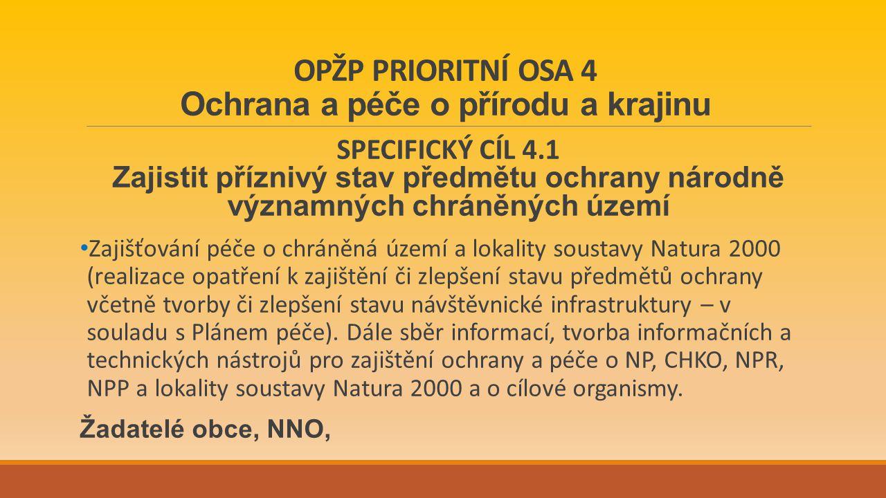OPŽP PRIORITNÍ OSA 4 Ochrana a péče o přírodu a krajinu SPECIFICKÝ CÍL 4.1 Zajistit příznivý stav předmětu ochrany národně významných chráněných území Zajišťování péče o chráněná území a lokality soustavy Natura 2000 (realizace opatření k zajištění či zlepšení stavu předmětů ochrany včetně tvorby či zlepšení stavu návštěvnické infrastruktury – v souladu s Plánem péče).